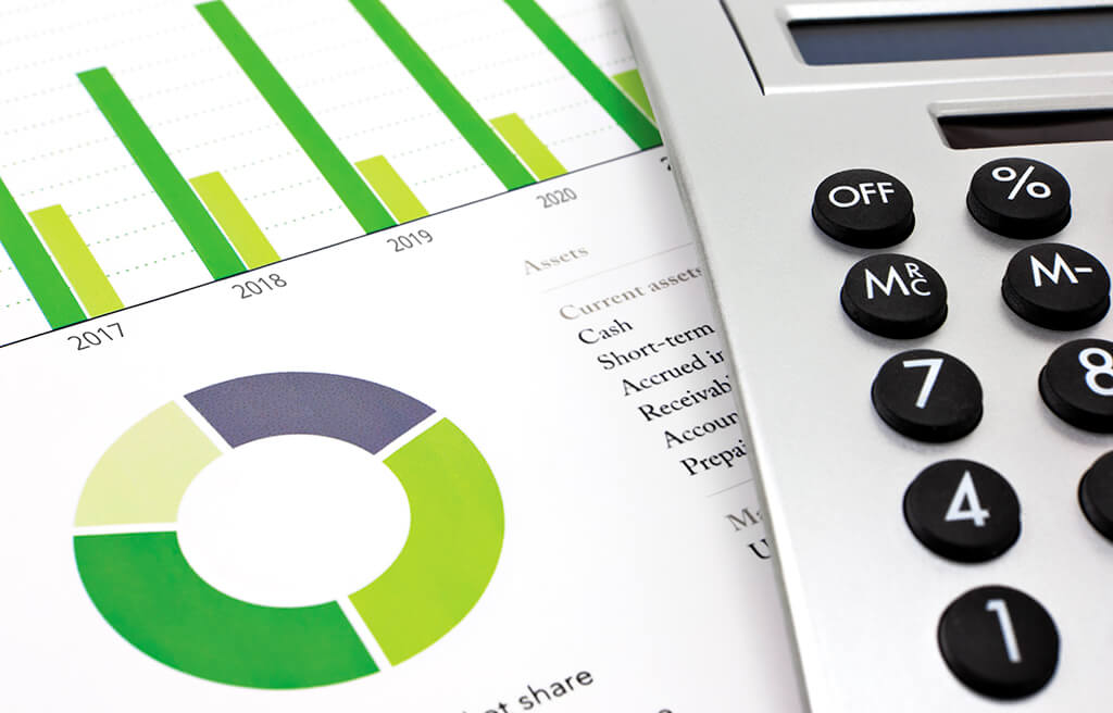 financial graphs, report and calculator