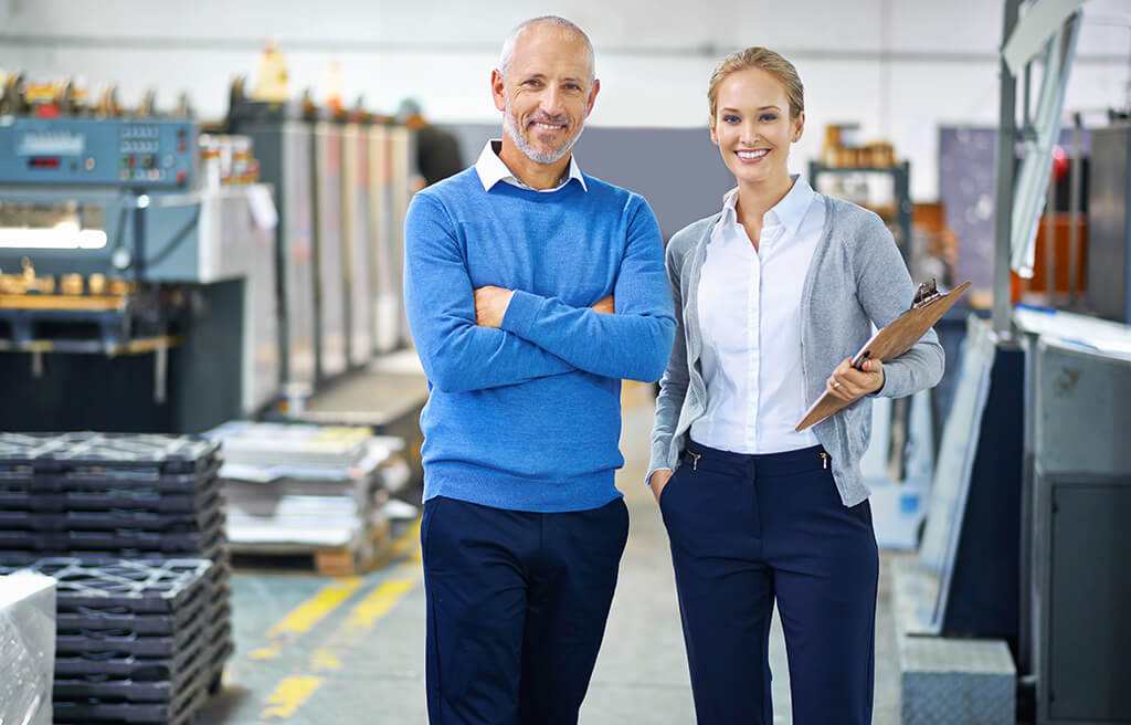 male and female industrial managers