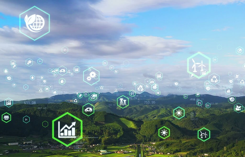 sustainability graphics superimposed over landscape