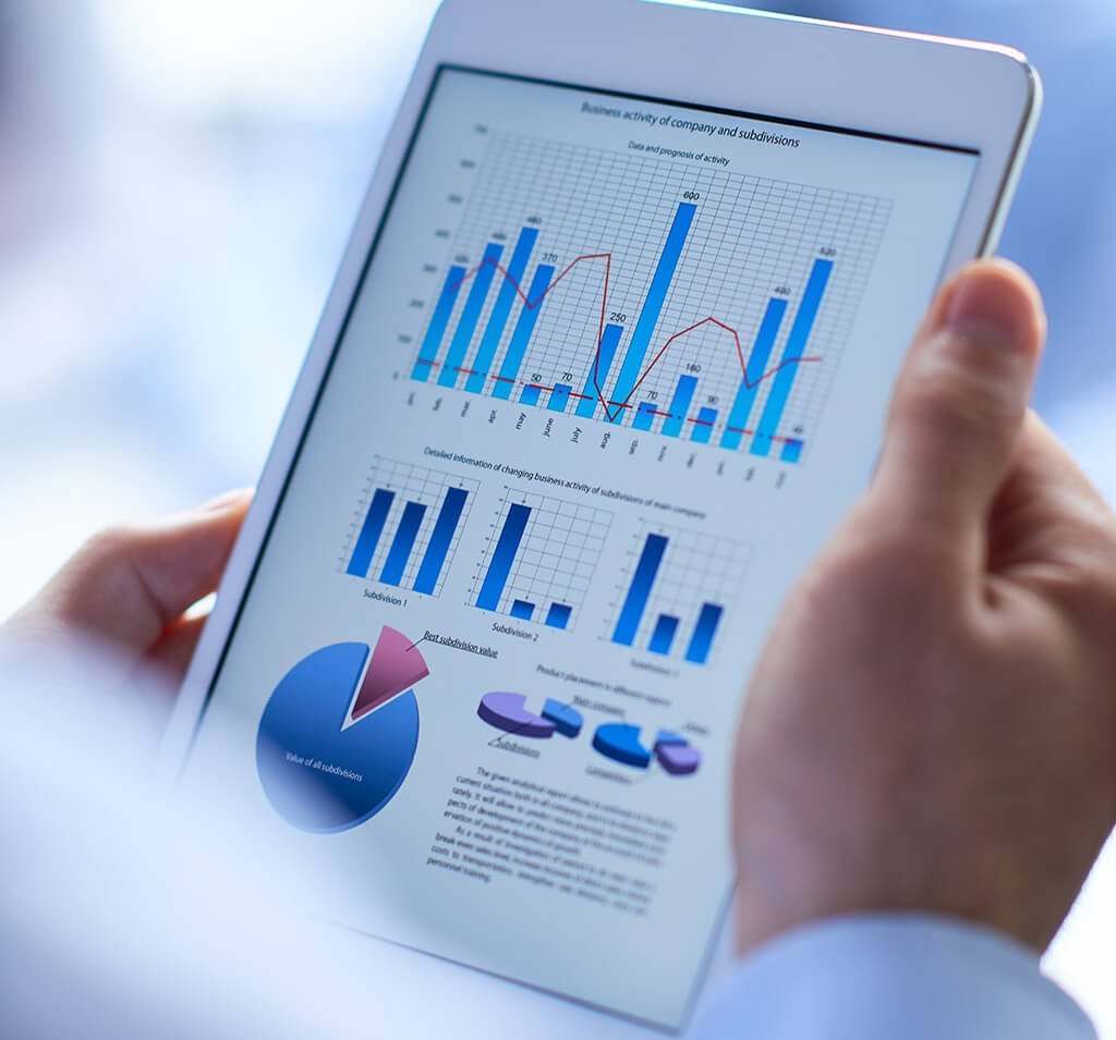 tablet showing budget and financial charts