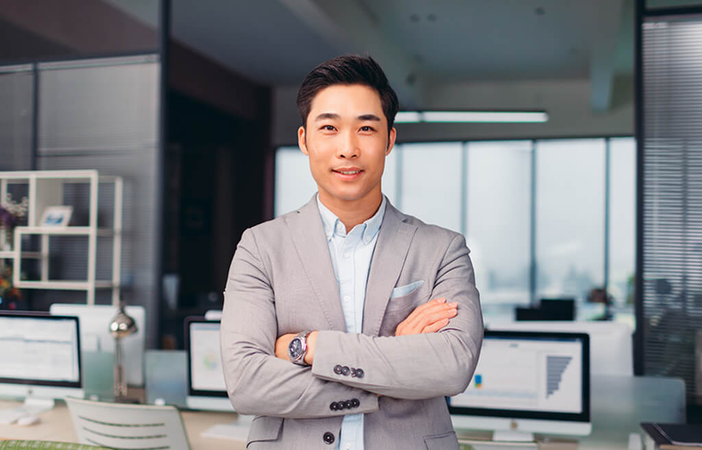 confident business man in office